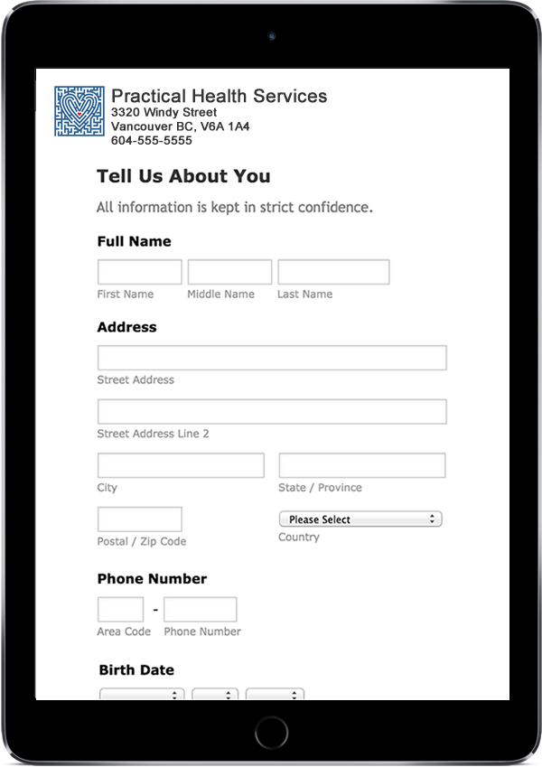 custom intake forms for collecting patient data for clinic management