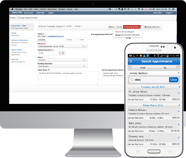 appointment scheduling software with electronic charting for Barbers