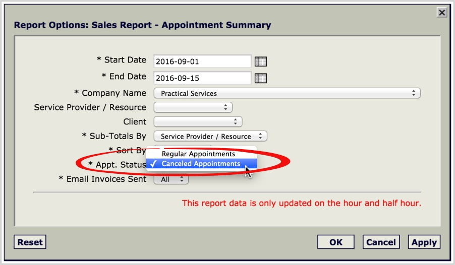 appointment management with invoicing and reporting
