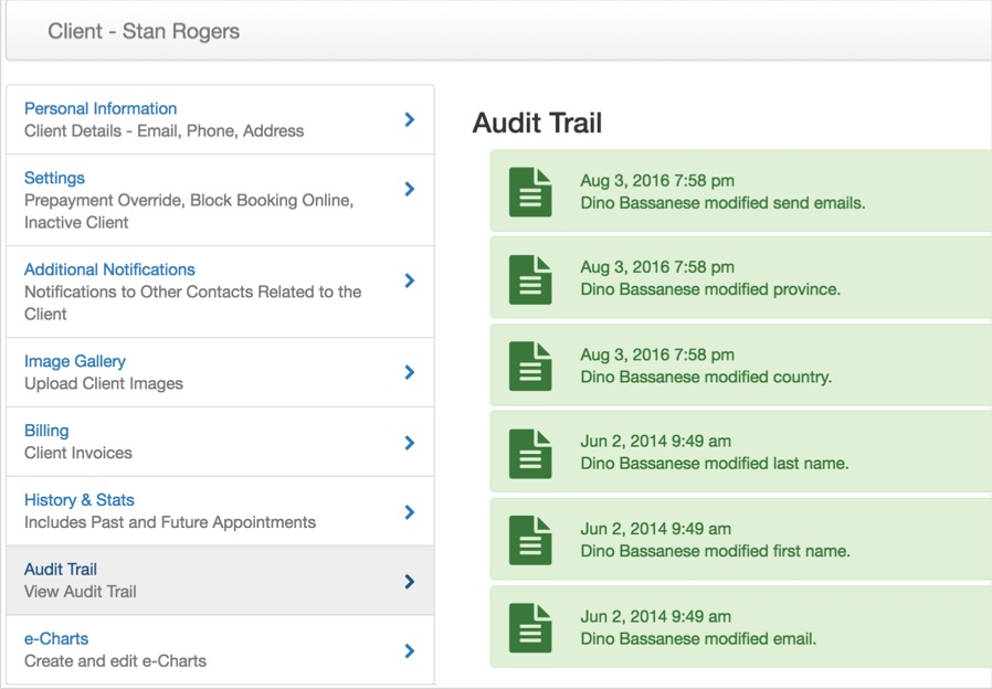 client record audit trail