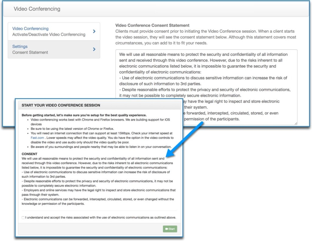videoconferencing settings